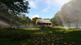 Farm house in the woods, sun rays and blowing leafs, panning, 4K. Hd video stock video footage