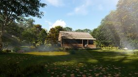 Farm house in the woods, sun rays and blowing leafs, panning, zoom out. Hd video stock video