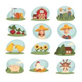 Farm household or farmer agriculture and cattle vector flat icons Royalty Free Stock Photography