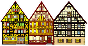 Farm houses. Traditional houses from the middle-age anywhere in Europe, great for promoting tourism industry. Very decorative, very detailed and elaborate Royalty Free Stock Image