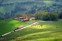 Farm houses in mountain Stock Photos