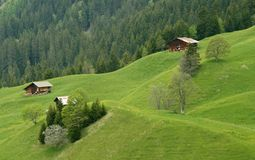 Farm houses on mountain slope Switzerland Stock Image