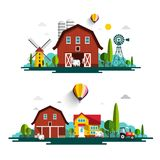 Farm with Houses - Vector Flat Design Cartoon. With Barn and Cows Stock Illustration
