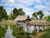 Farm hut on water Royalty Free Stock Images