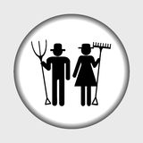 Farm icon with farmers man and woman Royalty Free Stock Photo