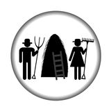 Farm icon with haystack and farmers Stock Photo