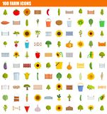 100 farm icon set, flat style. 100 farm icon set. Flat set of 100 farm icons for web design royalty free illustration