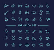 Farm icon set, simple and thin line design Stock Image