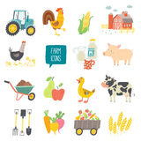 Farm icon set. Vector illustration. Cartoon vector hand drawn eps 10 illustration isolated on white background Stock Photo