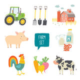 Farm icon set. Vector illustration. Cartoon vector hand drawn eps 10 illustration isolated on white background Royalty Free Stock Photo