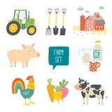 Farm icon set. Royalty Free Stock Photo