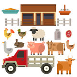 Farm icon vector illustration nature food harvesting grain agriculture different animals characters. Modern flat graphic growth cultivated design Stock Image