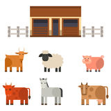 Farm icon vector illustration nature food harvesting grain agriculture different animals characters. Modern flat graphic growth cultivated design Royalty Free Stock Photos