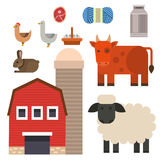 Farm icon vector illustration nature food harvesting grain agriculture different animals characters. Modern flat graphic growth cultivated design Stock Images