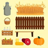 Farm vector illustration nature food harvesting grain agriculture growth cultivated design. Royalty Free Stock Photos