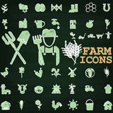 Farm icons by chalk. Green color farm icons paint by chalk on chalkboard Royalty Free Stock Image