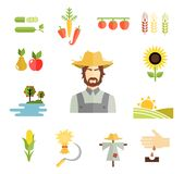 Farm icons for cultivating crops Stock Images