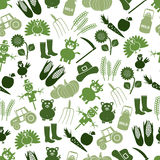 Farm icons green seamless pattern Royalty Free Stock Image