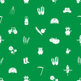 Farm icons green and white seamless pattern Stock Images
