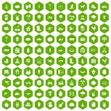100 farm icons hexagon green. 100 farm icons set in green hexagon isolated vector illustration Stock Image