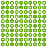 100 farm icons hexagon green. 100 farm icons set in green hexagon isolated vector illustration Stock Images