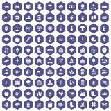 100 farm icons hexagon purple. 100 farm icons set in purple hexagon isolated vector illustration Stock Images