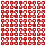 100 farm icons hexagon red. 100 farm icons set in red hexagon isolated vector illustration Stock Photo