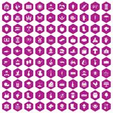 100 farm icons hexagon violet. 100 farm icons set in violet hexagon isolated vector illustration stock illustration