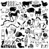 Farm icons. Image of black icons of farm animals and natural products Stock Photos