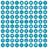 100 farm icons sapphirine violet. 100 farm icons set in sapphirine hexagon isolated vector illustration stock illustration