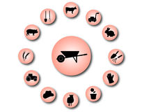 Farm icons 2. A set of farm icons Royalty Free Stock Images