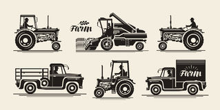 Farm icons set. Agricultural industry, farmer, harvester, tractor, truck symbol. Vintage vector illustration Royalty Free Stock Image