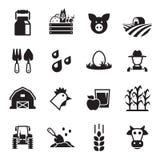 Farm icons set. Black on a white background stock illustration