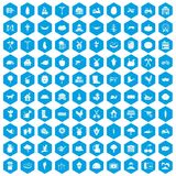 100 farm icons set blue. 100 farm icons set in blue hexagon isolated vector illustration Vector Illustration