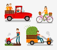 Farm icons set. Cartoon characters Stock Photography