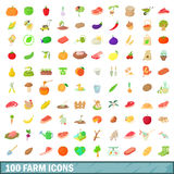 100 farm icons set, cartoon style. 100 farm icons set in cartoon style for any design vector illustration Royalty Free Stock Photography