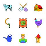 Farm icons set, cartoon style Royalty Free Stock Image