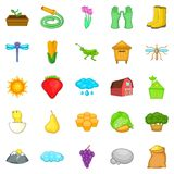 Farm icons set, cartoon style. Farm icons set. Cartoon set of 25 farm vector icons for web isolated on white background Royalty Free Stock Images