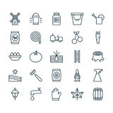 Farm Icons Set. Collection Of Agrimotor, Meadow, Cask And Other Elements. Also Includes Symbols Such As Egg, Packet. Farm Icons Set. Collection Of Agrimotor Stock Photography
