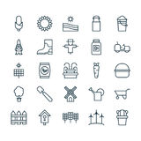 Farm Icons Set. Collection Of Barrier, Agrimotor, Plant Seeds And Other Elements. Also Includes Symbols Such As Stock Photos