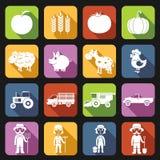 Farm Icons Set Flat Stock Photo