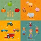 Farm icons set flat Stock Image