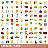 100 farm icons set, flat style. 100 farm icons set in flat style for any design vector illustration Stock Images