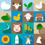 Farm icons set, flat style. Farm icons set. Flat illustration of 16 farm vector icons for web Stock Illustration