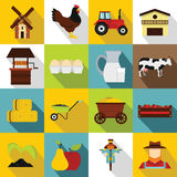 Farm icons set, flat style Royalty Free Stock Image