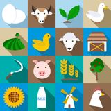 Farm icons set, flat style. Farm icons set. Flat illustration of 16 farm icons for web Royalty Free Illustration