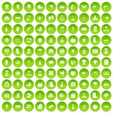 100 farm icons set green. 100 farm icons set in green circle isolated on white vectr illustration Royalty Free Illustration
