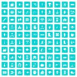 100 farm icons set grunge blue. 100 farm icons set in grunge style blue color isolated on white background vector illustration vector illustration