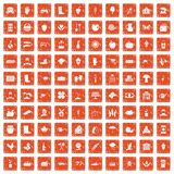 100 farm icons set grunge orange. 100 farm icons set in grunge style orange color isolated on white background vector illustration Stock Photography