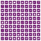 100 farm icons set grunge purple. 100 farm icons set in grunge style purple color isolated on white background vector illustration Stock Images